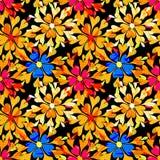 抽象荧光的美丽的花无缝的背景 免版税库存照片