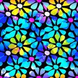 抽象荧光的美丽的花无缝的背景 库存图片