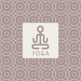 抽象莲花姿势瑜伽演播室设计卡片 图库摄影