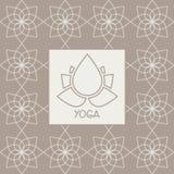 抽象莲花瑜伽演播室设计卡片 免版税库存图片