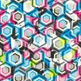 抽象菱形颜色无缝与玻璃作用 免版税库存照片