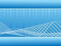抽象蓝线波浪音乐的向量 库存图片