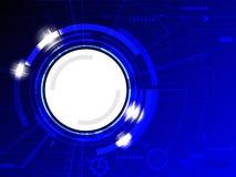 抽象蓝色上色了与各种各样的技术元素和明亮的火光的技术背景 免版税库存图片