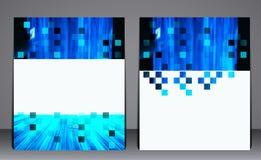 抽象蓝色企业小册子飞行物,在A4大小,布局盖子,在数字式几何样式的设计的设计 皇族释放例证