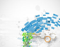抽象蓝色六角形计算机传染媒介互联网技术backgr 免版税图库摄影