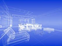 抽象蓝色内部wireframe 图库摄影