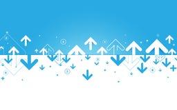 抽象蓝色和白色箭头和财政概念背景 库存图片