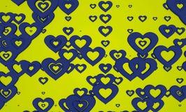 抽象蓝色和绿色华伦泰心脏形状样式背景 图库摄影