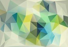抽象蓝色和绿色低多背景,传染媒介 免版税图库摄影