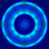 抽象蓝色圈子旋转和移动技术背景 免版税库存照片