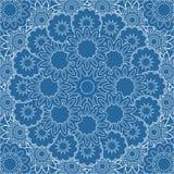 抽象蓝色坛场 花卉装饰边 库存图片