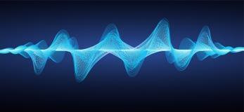 抽象蓝色声波 作用波浪线 向量例证