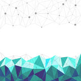 抽象蓝色多角形,线和小点有白色背景,传染媒介 免版税库存图片
