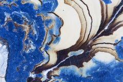 抽象蓝色幻想矿物纤维锌矿的横断面 库存图片
