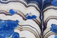 抽象蓝色幻想矿物纤维锌矿的横断面 库存照片