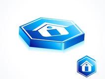 抽象蓝色按钮家 库存照片