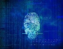 抽象蓝色未来背景二进制编码和指纹 免版税库存图片