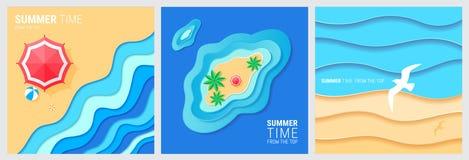 抽象蓝色海和海滩夏天背景 向量例证