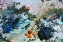 抽象蓝色混合油漆颜色和颜色 抽象独特的湿油漆背景 绘画斑点 免版税库存图片