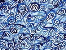 抽象蓝色白色螺旋波浪海海洋水彩绘画 向量例证