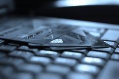 抽象蓝色看板卡赊帐照片 免版税库存图片