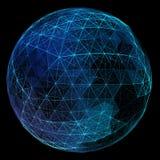 抽象蓝色网络地球 技术概念  库存照片