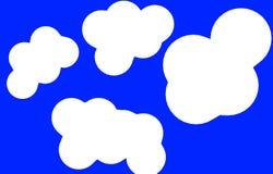 抽象蓝色背景动画片白色云彩 免版税库存照片