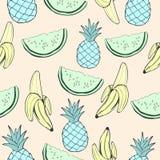 抽象蓝色菠萝、绿色西瓜和香蕉,在异常的创造性的颜色的果子,葡萄酒无缝的样式,动画片backgro 库存照片