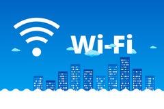 抽象蓝色都市风景 Wi-Fi, 3G, 4G desing的广告 免版税图库摄影