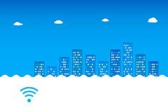 抽象蓝色都市风景 Wi-Fi, 3G, 4G desing的广告 免版税库存图片