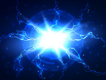 抽象蓝色闪电传染媒介科学背景 库存图片