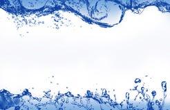 抽象蓝色飞溅的水当画框 免版税库存照片