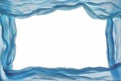 抽象蓝色织品薄绸的框架设计元素织地不很细Bac 库存照片