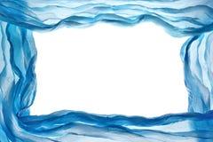 抽象蓝色织品薄绸的框架设计元素织地不很细Bac 免版税库存图片