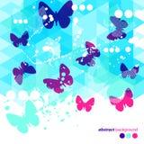 抽象蓝色蝴蝶背景 免版税库存照片