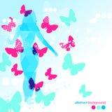 抽象蓝色蝴蝶背景 免版税库存图片