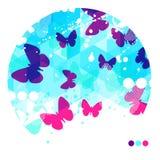 抽象蓝色蝴蝶背景 库存图片