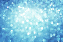 抽象蓝色bokeh光,蓝色和白光defocused背景。 图库摄影