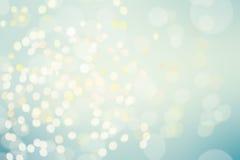 抽象蓝色Bokeh闪光了与bokeh defocu的明亮的背景 库存图片