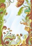 抽象蘑菇框架背景 免版税库存图片