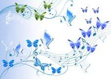抽象蝴蝶装饰附注 库存图片