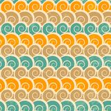 抽象螺旋与难看的东西作用的海滩无缝的样式 库存照片