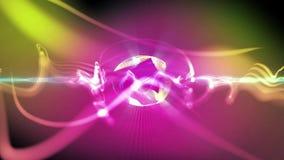 抽象行动背景、光亮的光、声波几何形状能量和闪耀的元素微粒在迪斯科跳舞musi 库存例证