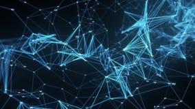 抽象行动背景-数字式多角形任意数字结节数据网