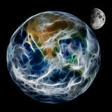 抽象行星地球和月亮 免版税库存照片