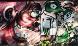 抽象街道画墙壁 库存图片