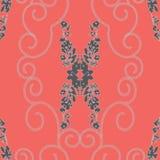 抽象被反映的玫瑰和链螺旋样式 皇族释放例证