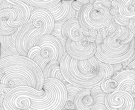 抽象装饰与计算的波浪线的传染媒介无缝的纹理 免版税库存照片