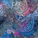 抽象装饰乱画音乐无缝的样式 免版税库存照片