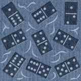 抽象装饰多米诺-蓝色牛仔布牛仔裤-无缝的背景 库存照片